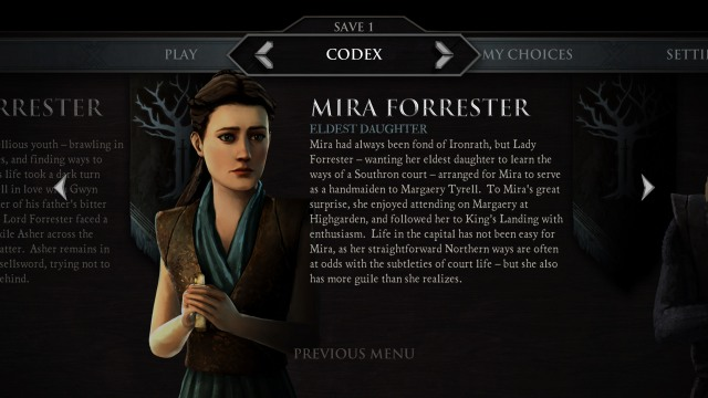 Game of Thrones A Telltale Games Series Mira Sansa