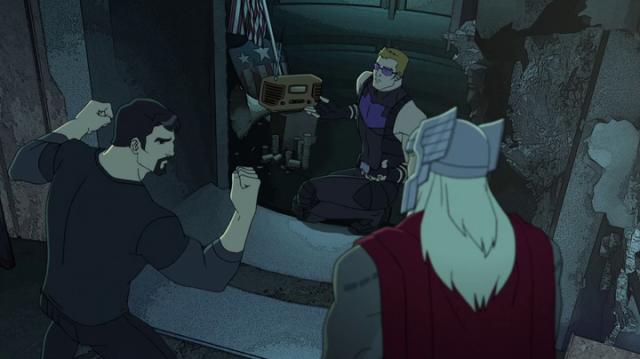 Avengers Assemble Tony flexing
