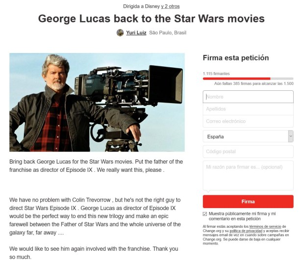 George Lucas Changeorg