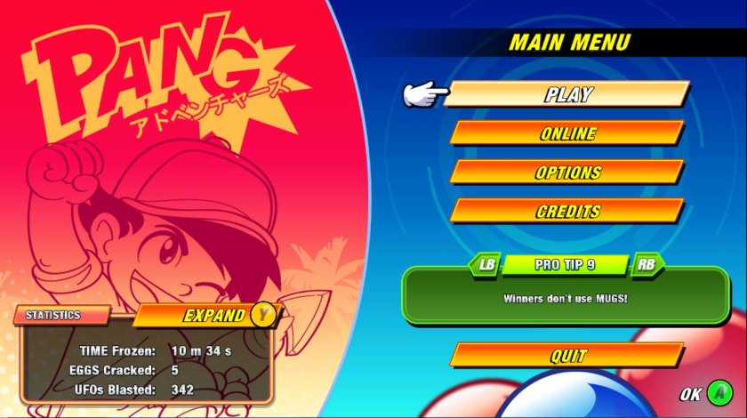 Pang Adventures main menu