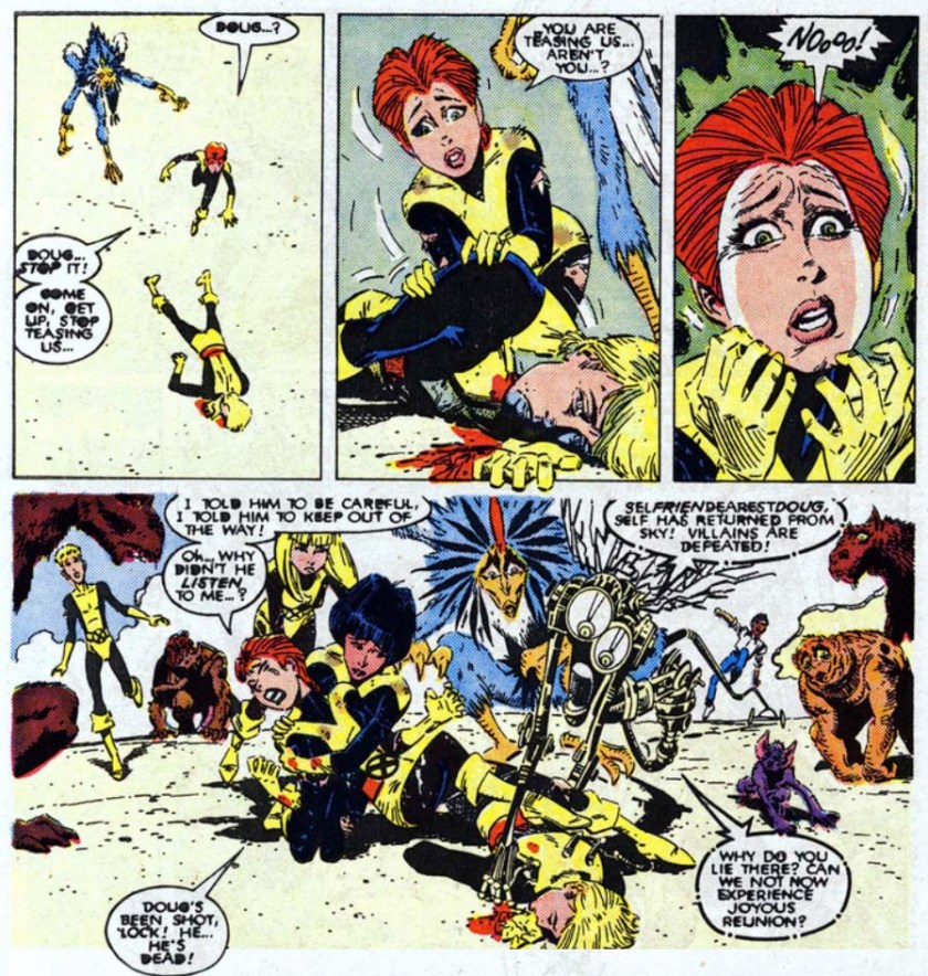 Doug's Been Shot, he's dead New Mutants 60