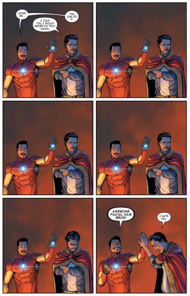 Bendis Awesome facial hair bros iron man doctor strange