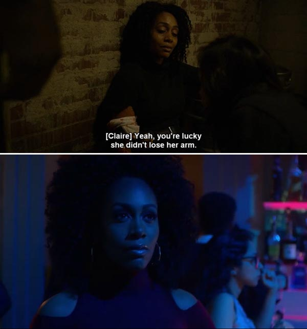 misty-knight-netflix-luke-cage-red-dress-lost-arm
