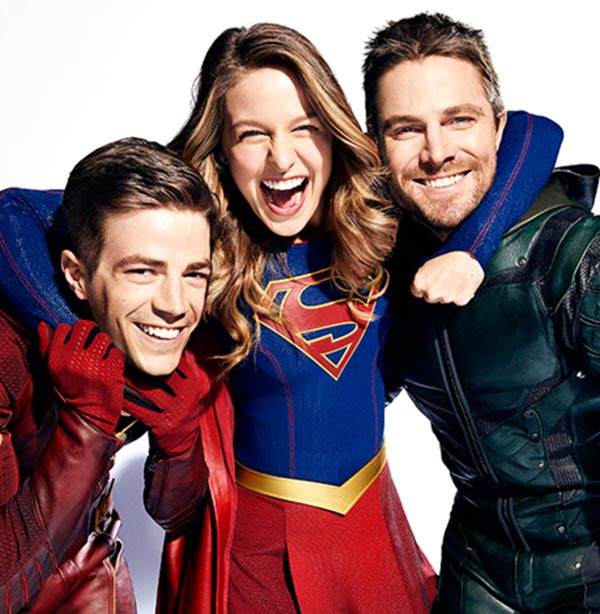 DC Superheroes L to R: Melissa Benoist (Supergirl), Stephen Amell (Green Arrow) and Grant Gustin (The Flash)  Vancouver, British Columbia, Canada - October, 27, 2016 Photograph by Art Streiber Gustin's Costumer: Elizabeth «Betty' Dubney; Hair: Sarah Koppes; Makeup: Tina Teoli; Benoist's Costumer: Nicole Bobick; Hair: Lisa Leonard; Makeup: Danielle Fowler; Amell's Costumer: Mary Hyde Kerr; Hair: Paul J. Edwards; Makeup: Tanya Howard; Producer: Adele Thomas Productions